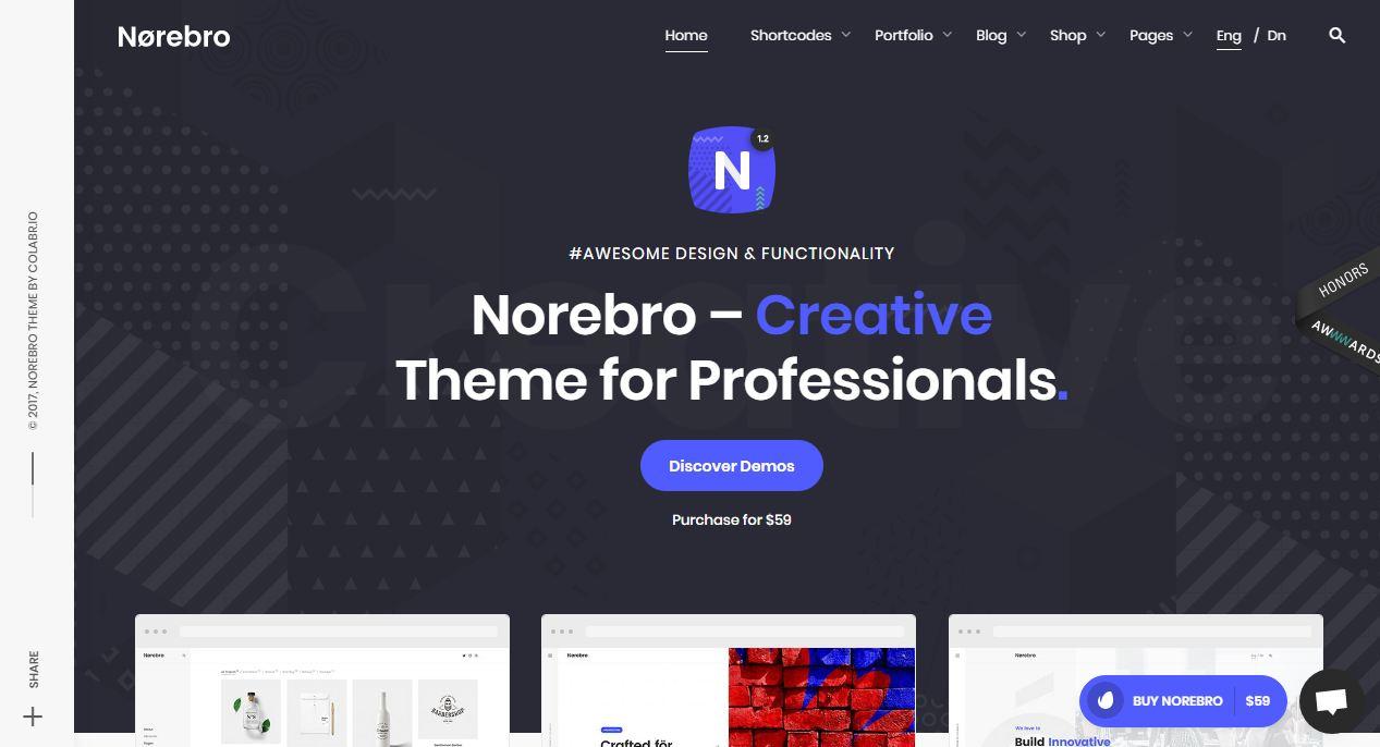 Norebro - giao diện website sáng tạo