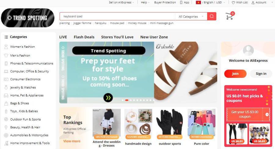 Trang web mua hàng Trung Quóc Aliexpress